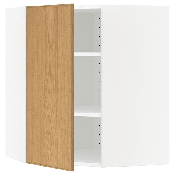 METOD Corner wall cabinet with shelves, white/Ekestad oak, 68x68x80 cm