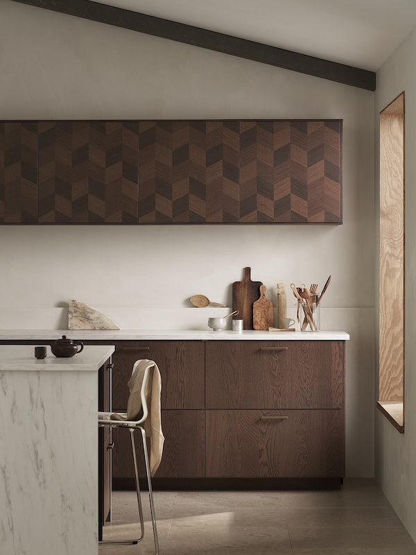 METOD Corner wall cabinet with shelves, white Hasslarp/brown patterned, 68x37x80 cm