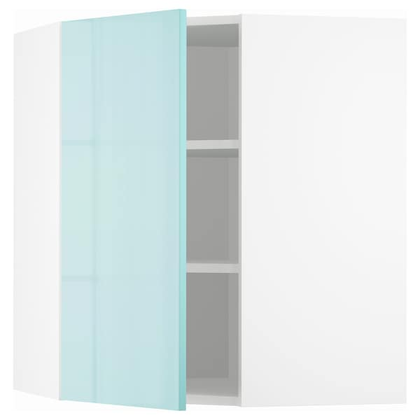 METOD Corner wall cabinet with shelves, white Järsta/high-gloss light turquoise, 68x37x80 cm