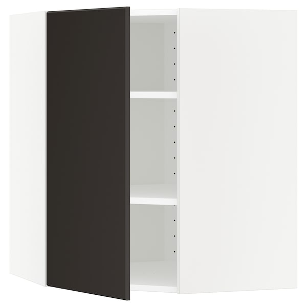METOD Corner wall cabinet with shelves, white/Kungsbacka anthracite, 68x68x80 cm