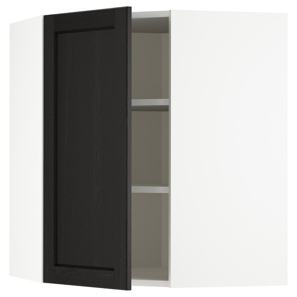METOD Corner wall cabinet with shelves, white/Lerhyttan black stained, 68x68x80 cm