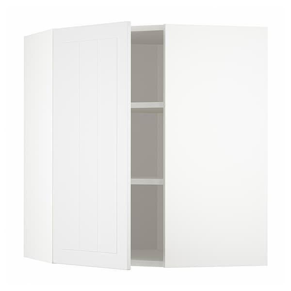 METOD Corner wall cabinet with shelves, white/Stensund white, 68x68x80 cm