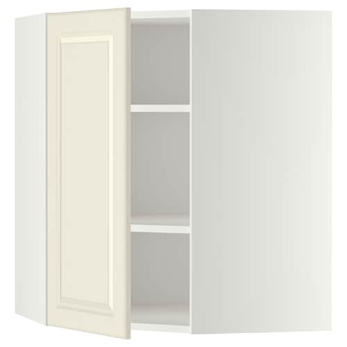 METOD corner wall cabinet with shelves white/Bodbyn off-white 67.5 cm 67.5 cm 67.5 cm 80.0 cm