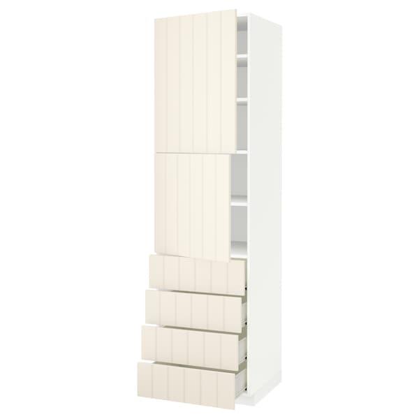 METOD / FÖRVARA Hi cab w shlvs/4 drawers/2 doors, white/Hittarp off-white, 60x60x220 cm