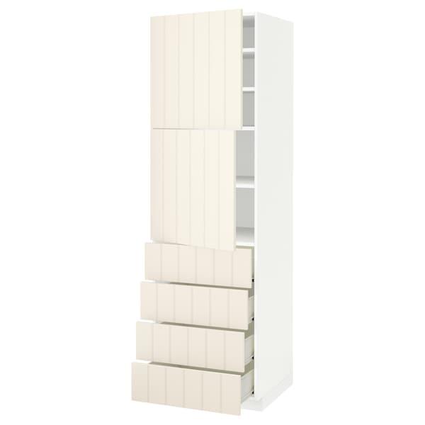 METOD / FÖRVARA Hi cab w shlvs/4 drawers/2 doors, white/Hittarp off-white, 60x60x200 cm