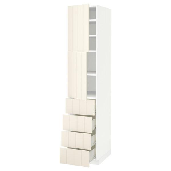 METOD / FÖRVARA Hi cab w shlvs/4 drawers/2 doors, white/Hittarp off-white, 40x60x200 cm