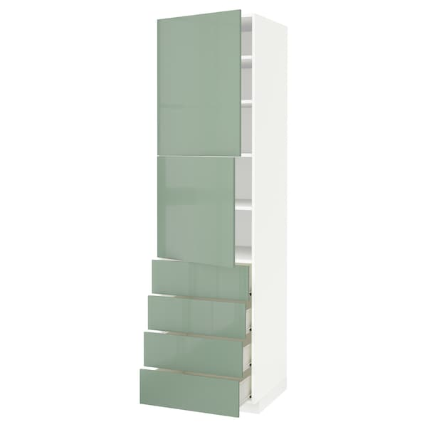 METOD / FÖRVARA Hi cab w shlvs/4 drawers/2 doors, white/Kallarp light green, 60x60x220 cm