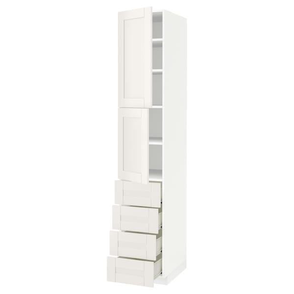 METOD / FÖRVARA Hi cab w shlvs/4 drawers/2 doors, white/Sävedal white, 40x60x220 cm