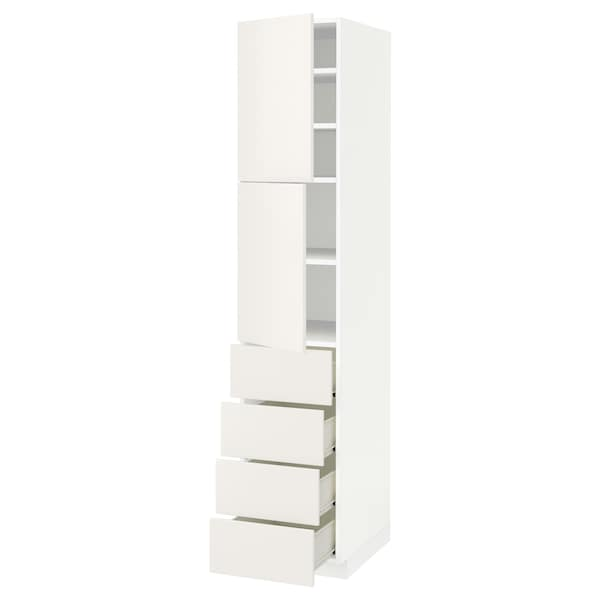 METOD / FÖRVARA Hi cab w shlvs/4 drawers/2 doors, white/Veddinge white, 40x60x200 cm