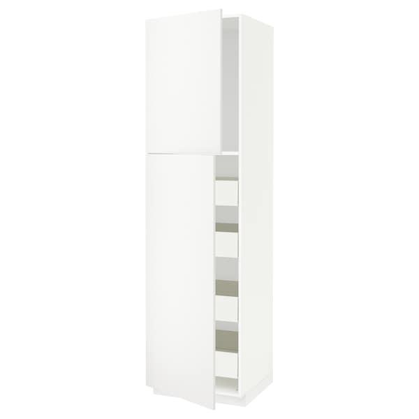 METOD / FÖRVARA High cb w 2 doors/shelves/4 drawers, white/Häggeby white, 60x60x220 cm