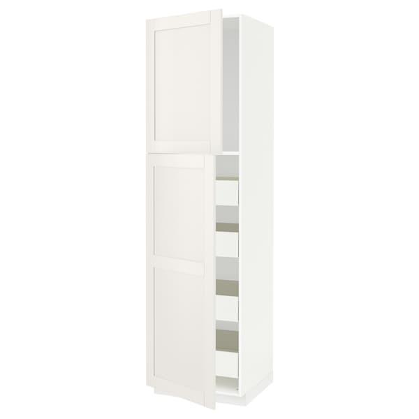 METOD / FÖRVARA High cb w 2 doors/shelves/4 drawers, white/Sävedal white, 60x60x220 cm