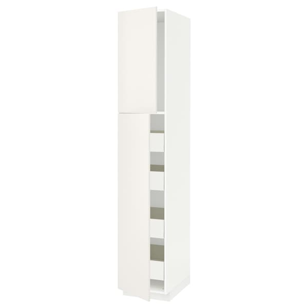 METOD / FÖRVARA High cb w 2 doors/shelves/4 drawers, white/Veddinge white, 40x60x220 cm