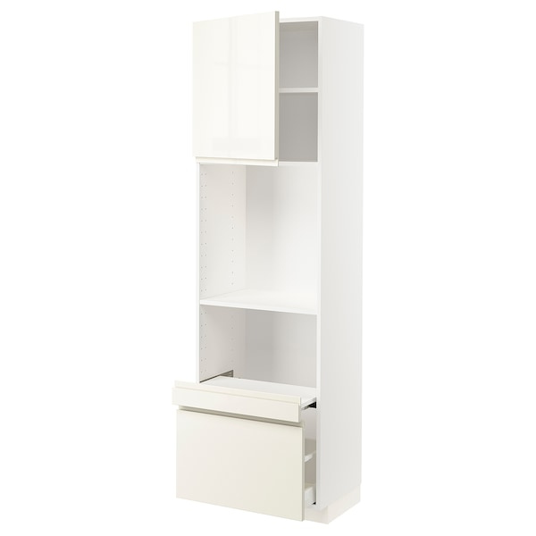 METOD Hi cab w pull-out shelf/drawer/door, white/Voxtorp high-gloss light beige, 60x41x200 cm
