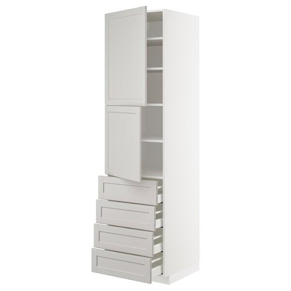 METOD Hi cab w shlvs/4 drawers/2 doors, white Maximera/Lerhyttan light grey, 60x60x220 cm