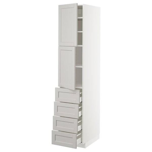 METOD Hi cab w shlvs/4 drawers/2 doors, white Maximera/Lerhyttan light grey, 40x60x200 cm