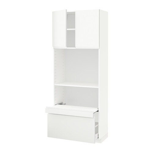 metod hi cb w pull out shelf drawer 2 drs voxtorp white