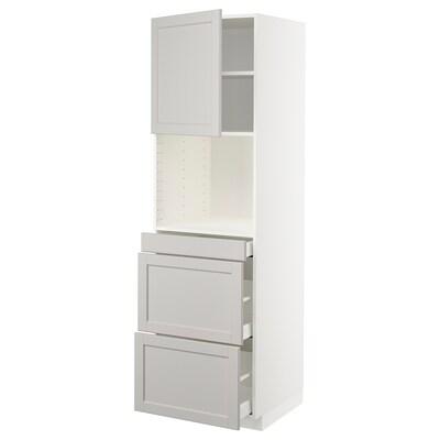 METOD High cab f micro w door/3 drawers, white Maximera/Lerhyttan light grey, 60x60x200 cm