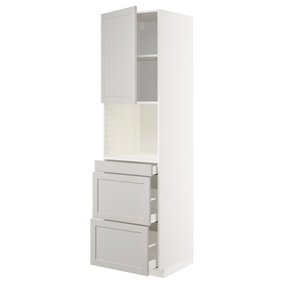 METOD High cab f micro w door/3 drawers, white Maximera/Lerhyttan light grey, 60x60x220 cm