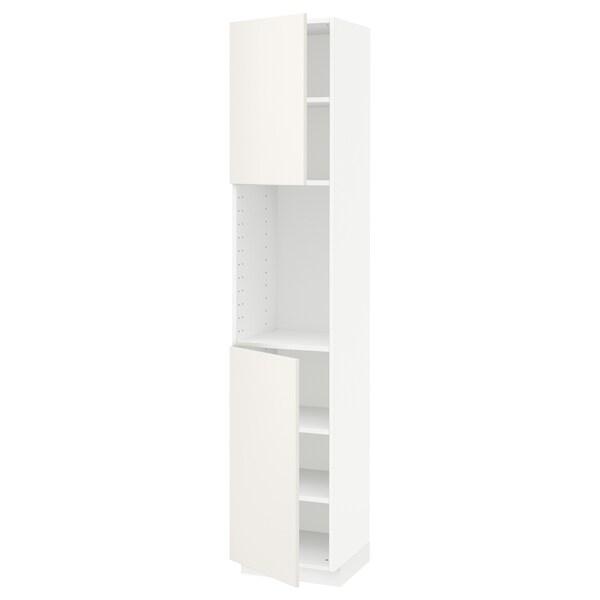 METOD High cabinet with shelves/2 doors, white/Veddinge white, 40x41x200 cm