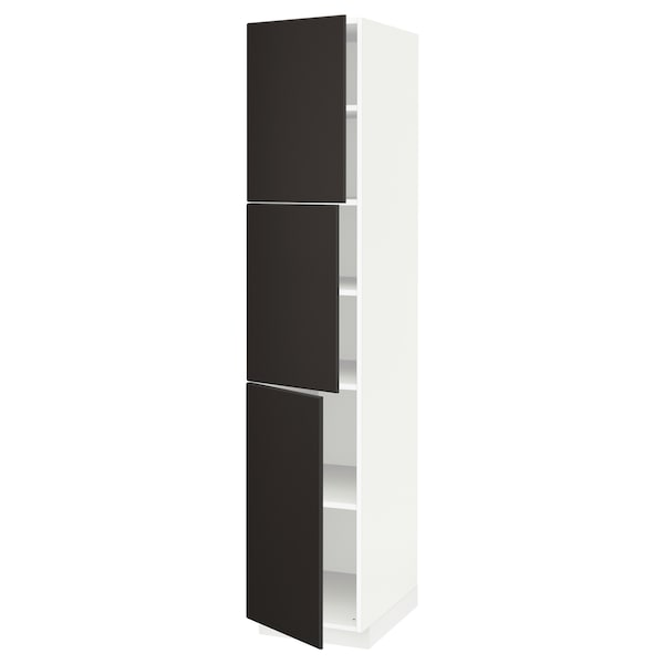 METOD High cabinet with shelves/3 doors, white/Kungsbacka anthracite, 40x60x200 cm
