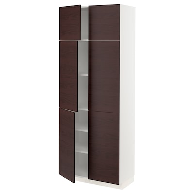 METOD High cabinet with shelves/4 doors, white Askersund/dark brown ash effect, 80x41x200 cm