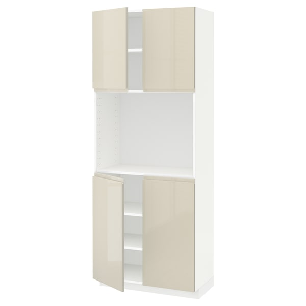 METOD High cabinet with shelves/4 doors, white/Voxtorp high-gloss light beige, 80x41x200 cm