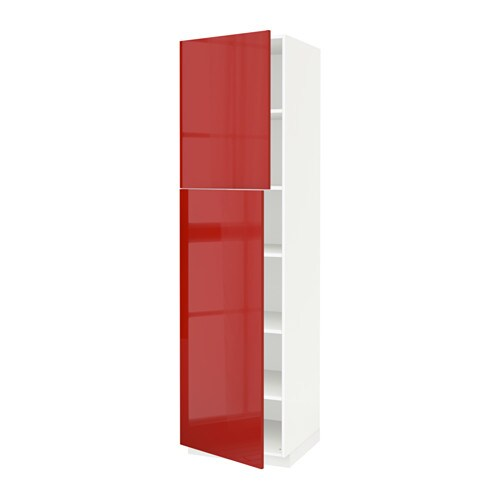 Metod high cabinet with shelves 2 doors ringhult high for Red high gloss kitchen doors