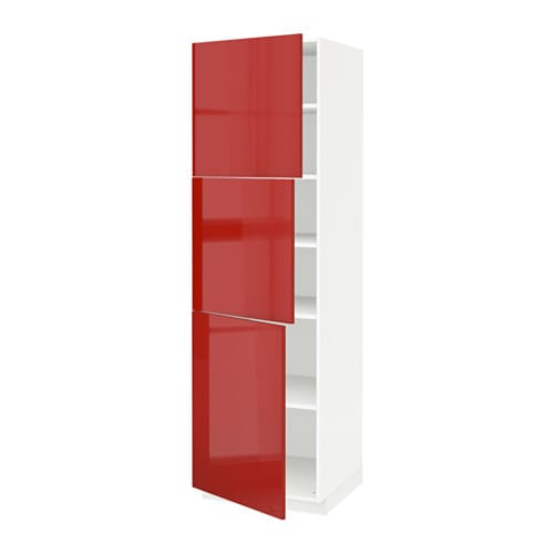 Metod high cabinet with shelves 3 doors ringhult high for Red high gloss kitchen doors