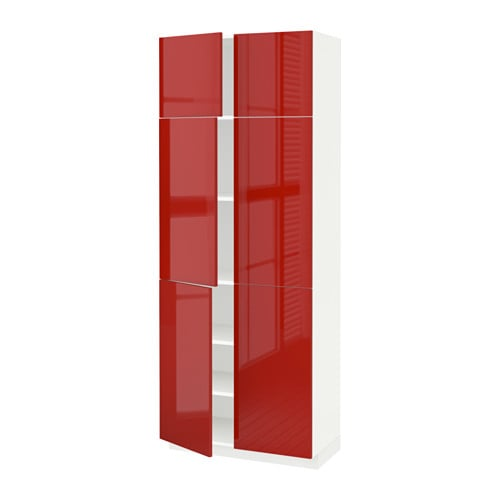 Metod high cabinet with shelves 4 doors ringhult high for Red high gloss kitchen doors