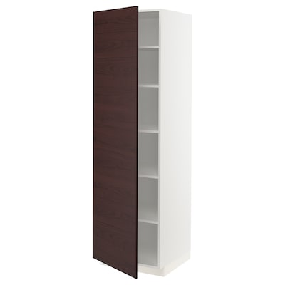 METOD High cabinet with shelves, white Askersund/dark brown ash effect, 60x60x200 cm