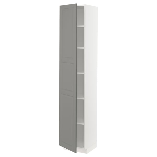 METOD High cabinet with shelves, white/Bodbyn grey, 40x41x200 cm