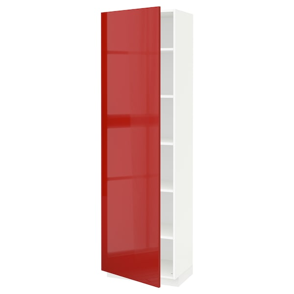 METOD High cabinet with shelves, white/Ringhult red, 60x41x200 cm