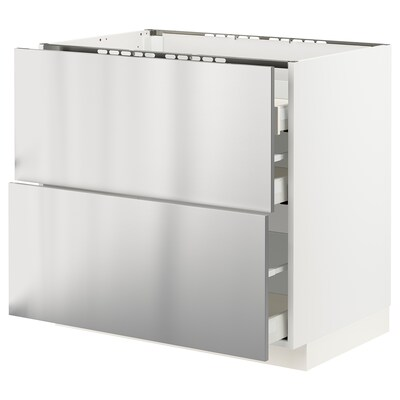 METOD / MAXIMERA Base cab f hob/2 fronts/3 drawers, white/Vårsta stainless steel, 90x60x80 cm