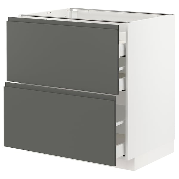 METOD / MAXIMERA Base cab f hob/2 fronts/3 drawers, white/Voxtorp dark grey, 80x60x80 cm