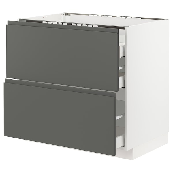METOD / MAXIMERA Base cab f hob/2 fronts/3 drawers, white/Voxtorp dark grey, 90x60x80 cm