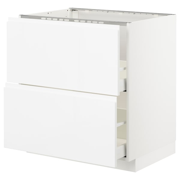 METOD / MAXIMERA Base cab f sink+2 fronts/2 drawers, white/Voxtorp high-gloss/white, 80x60x80 cm