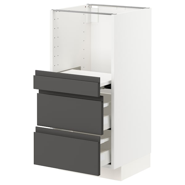 METOD / MAXIMERA Base cab w pull-out shelf/2 drawers, white/Voxtorp dark grey, 40x41x80 cm