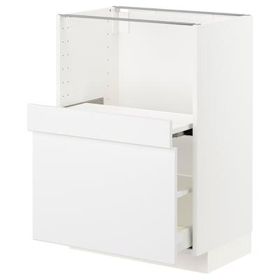 METOD / MAXIMERA Base cab w pull-out shelf/drawer, white/Kungsbacka matt white, 60x41x80 cm