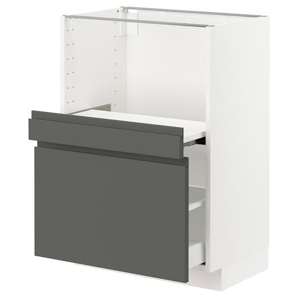 METOD / MAXIMERA Base cab w pull-out shelf/drawer, white/Voxtorp dark grey, 60x41x80 cm