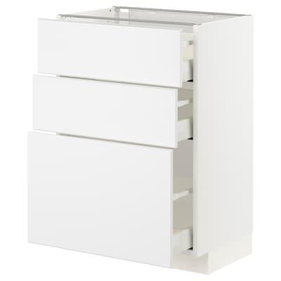 METOD / MAXIMERA Base cabinet with 3 drawers, white/Kungsbacka matt white, 60x41x80 cm