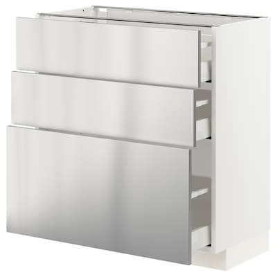 METOD / MAXIMERA Base cabinet with 3 drawers, white/Vårsta stainless steel, 80x41x80 cm