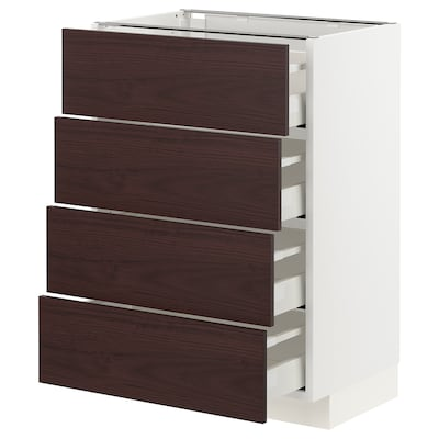 METOD / MAXIMERA Base cabinet with 4 drawers, white Askersund/dark brown ash effect, 60x41x80 cm
