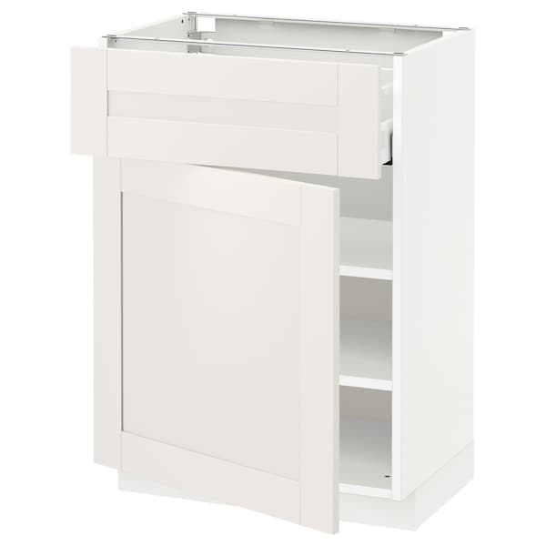 METOD / MAXIMERA Base cabinet with drawer/door, white/Sävedal white, 60x41x80 cm