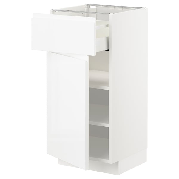 METOD / MAXIMERA Base cabinet with drawer/door, white/Voxtorp high-gloss/white, 40x41x80 cm