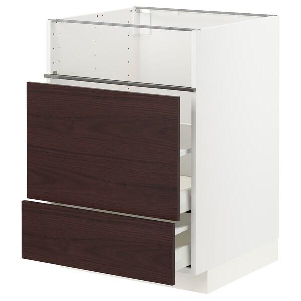 METOD / MAXIMERA Base cb f hob/fish grill/2 drawers, white Askersund/dark brown ash effect, 60x60x80 cm