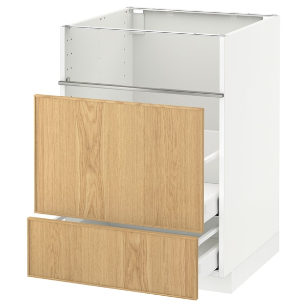 METOD / MAXIMERA Base cb f hob/fish grill/2 drawers, white/Ekestad oak, 60x60x80 cm