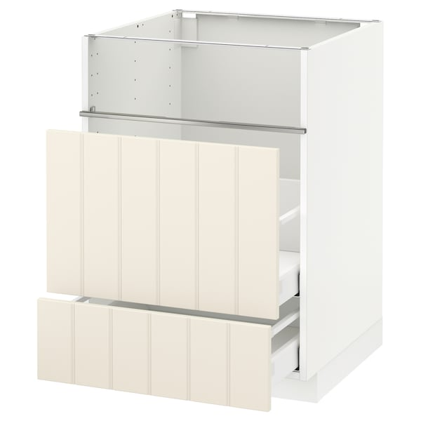 METOD / MAXIMERA Base cb f hob/fish grill/2 drawers, white/Hittarp off-white, 60x60x80 cm