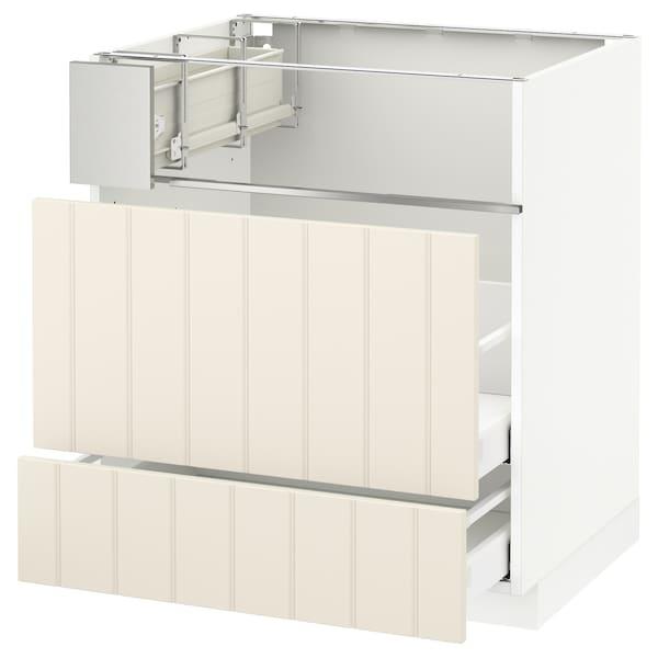 METOD / MAXIMERA Base cb f hob/fish grill/2 drawers, white/Hittarp off-white, 75x60x80 cm