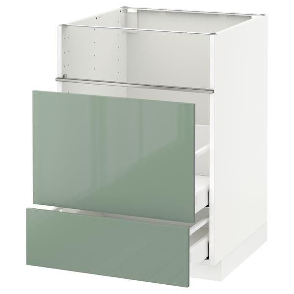 METOD / MAXIMERA Base cb f hob/fish grill/2 drawers, white/Kallarp light green, 60x60x80 cm