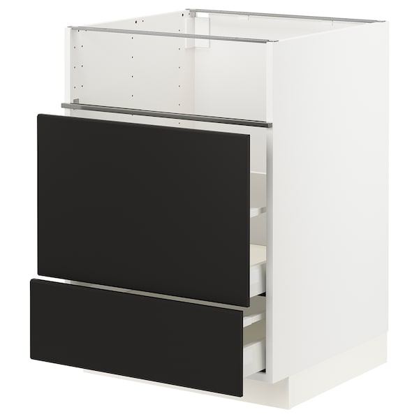 METOD / MAXIMERA Base cb f hob/fish grill/2 drawers, white/Kungsbacka anthracite, 60x60x80 cm